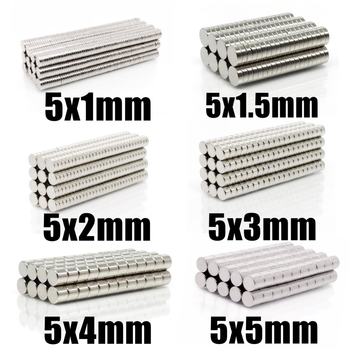 100~500Pcs N35 Round Magnet 5x1 5x1.5 5x2 5x3 5x4 5x5 Neodymium Magnet Permanent NdFeB Super Strong Powerful Magnets 5*1 5*2 5*3