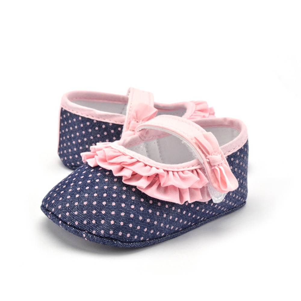 Baby Shoes Girl Toddler Infant Summer New Cotton Fabric Blue Polka Dot Outdoor Walking Shoes Prewalker Baby Shoes Riband