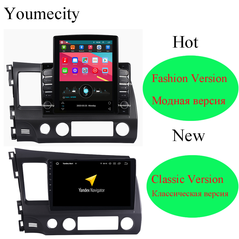 Eight Core/Android 9.0 Car Multimedia Player DVD Gps For Honda Civic 2006 2011 Radio IPS Screen 2DIN 10.1inch Radio Video BT2 din 10.12 dindvd car gps -