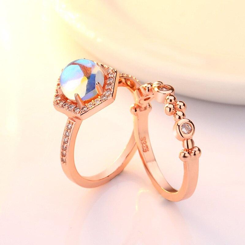 Exquisita de matrimonio compromiso anillo 2 unids/set brillante puro Natural de cristal anillo de ópalo de fuego alta joyería tamaño 5 a 11