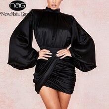 NewAsia Garden lśniąca czarna satynowa sukienka damska z golfem długa latarnia rękaw elegancka sukienka w stylu Vintage drapowana marszczona sukienka