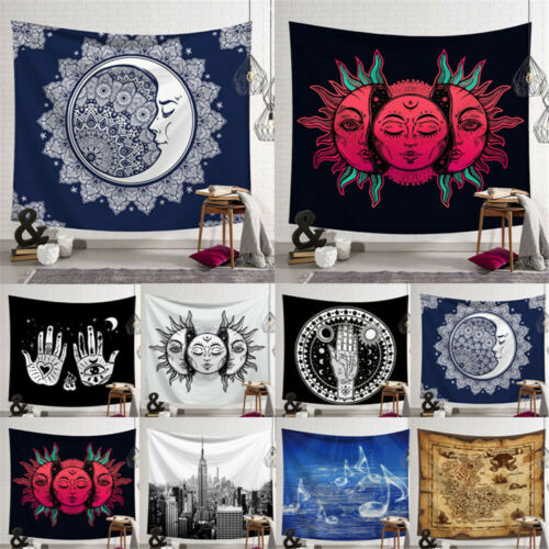 Psychedelic Moon Sun Wall Hanging Beach Towel Art Nordic Tapestry Bohemian Polyester Mandala Pattern Blanket Cover Home Decor