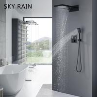 عالية الجودة الحمام ماتي الأسود أدوات دش الحائط ثرموستاتي 3 وظيفة دش صنبور|نظام الدش|   -