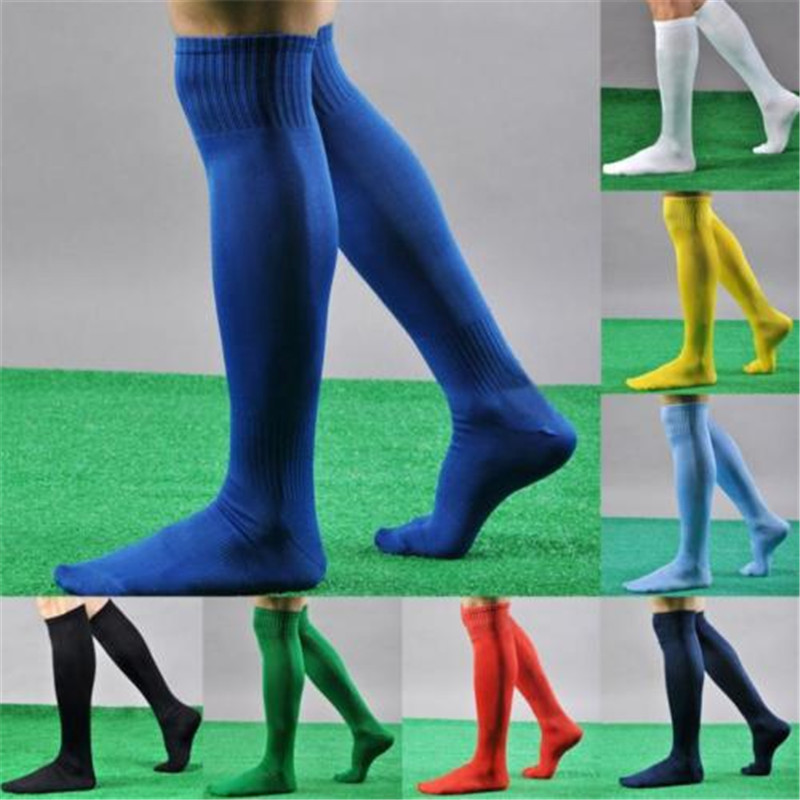 Hirigin Cool Mens Socks Sport Football Soccer Long Socks Near Knee High Sock Baseball Hockey Y White Yellow Blue Socks