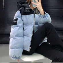 Cotton Jacket Patchwork Women Coat Long-Sleeve Color Winter Fashion Casual Hooded Lady
