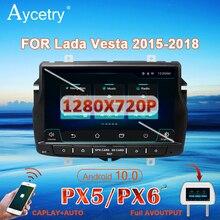สำหรับLADA Vesta Cross 1 Dinรถวิทยุเครื่องเล่นวิดีโอมัลติมีเดียDvdนำทางGPS Android 10สเตอริโอDSP IPS WIFI 4G 8 Core BT DVR