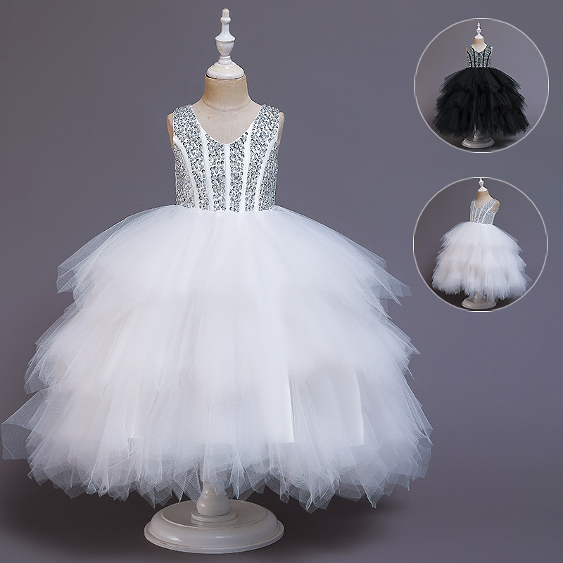 Child Model Catwalks Girls High-End Puffy Gauze Formal Dress Piano Costume Small Host Flower Boys/Flower Girls Princess Skirt