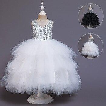 Enfant modèle défilés filles haut de gamme gonflé gaze robe formelle Piano Costume petit hôte fleur garçons/fleur filles princesse jupe