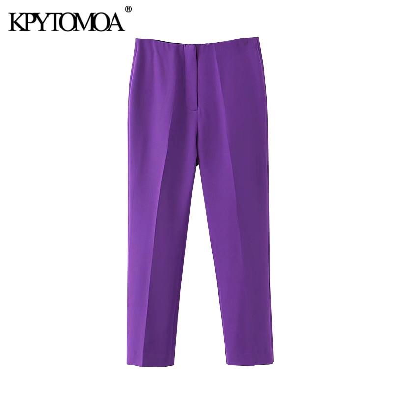KPYTOMOA Women 2020 Chic Fashion Office Wear Purple Pants Vintage High Waist Zipper Female Ankle Trousers Pantalones Mujer
