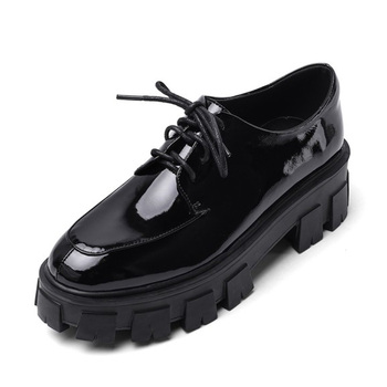 Loafers Genuine Cow Leather Women Spring Autumn Dress Shoes C376 Ladies Sewing Design Lace Up Black Round Toe Casual Shoes