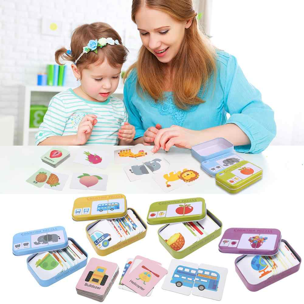 Educational Games Learning Cards for Baby Jigsaw Puzzle Montessori Cards Cognition Toys Learning Toys for Children  Baby Cards