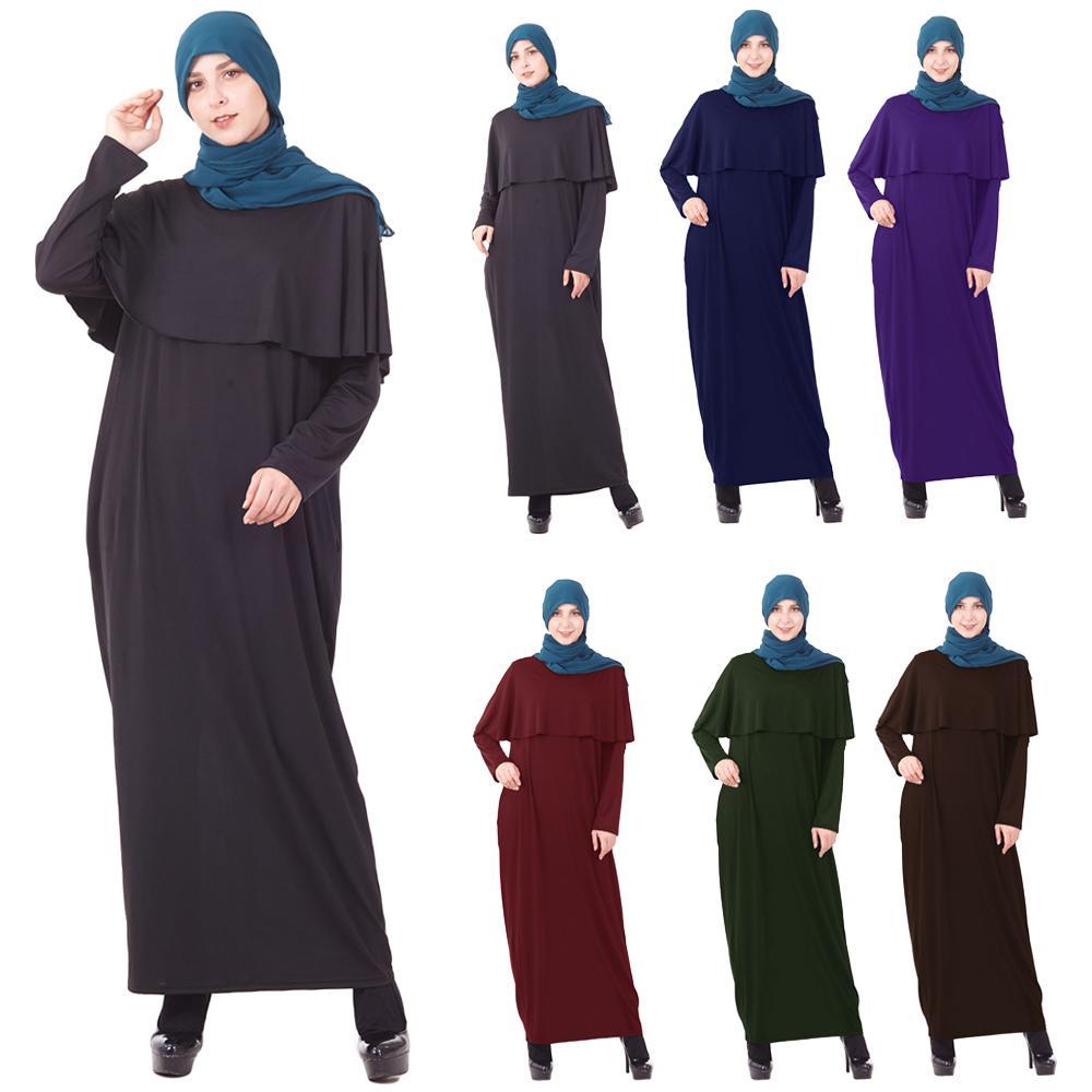 Muslim Abaya Jilbab Women Shawl Cape Long Maxi Dress Islamic Robe Kaftan Gown Arab Casual Hijab Dress Prayer Worship Service New