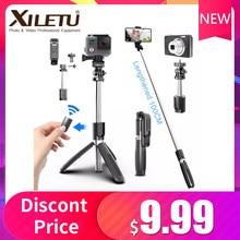 4 in1 inalámbrico Bluetooth trípode/palo Selfie plegable y monopiés de vídeo Universal para teléfonos inteligentes para Gopro deportes y cámaras de acción