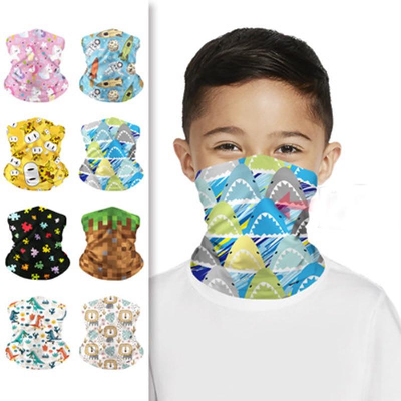 Children's Bib Riding Digital Printing Magic Headscarf Boys Girls Polyester Ice Silk Quick-Drying High Stretch Breathable   E29