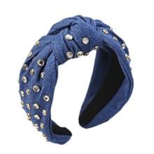 Джинсовый головной убор, украшенный камнями и узлом, повязки для волос для женщин и девочек, джинсовые аксессуары для волос