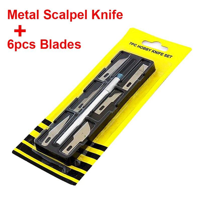 Купить с кэшбэком Non-Slip Metal Scalpel Knife Tools Kit Cutter Engraving Craft knives + 6pcs Blades Mobile Phone PCB DIY Repair Hand Tools