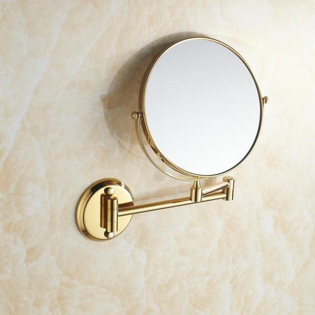 Фото двухстороннее складное латунное зеркало для макияжа в ванную