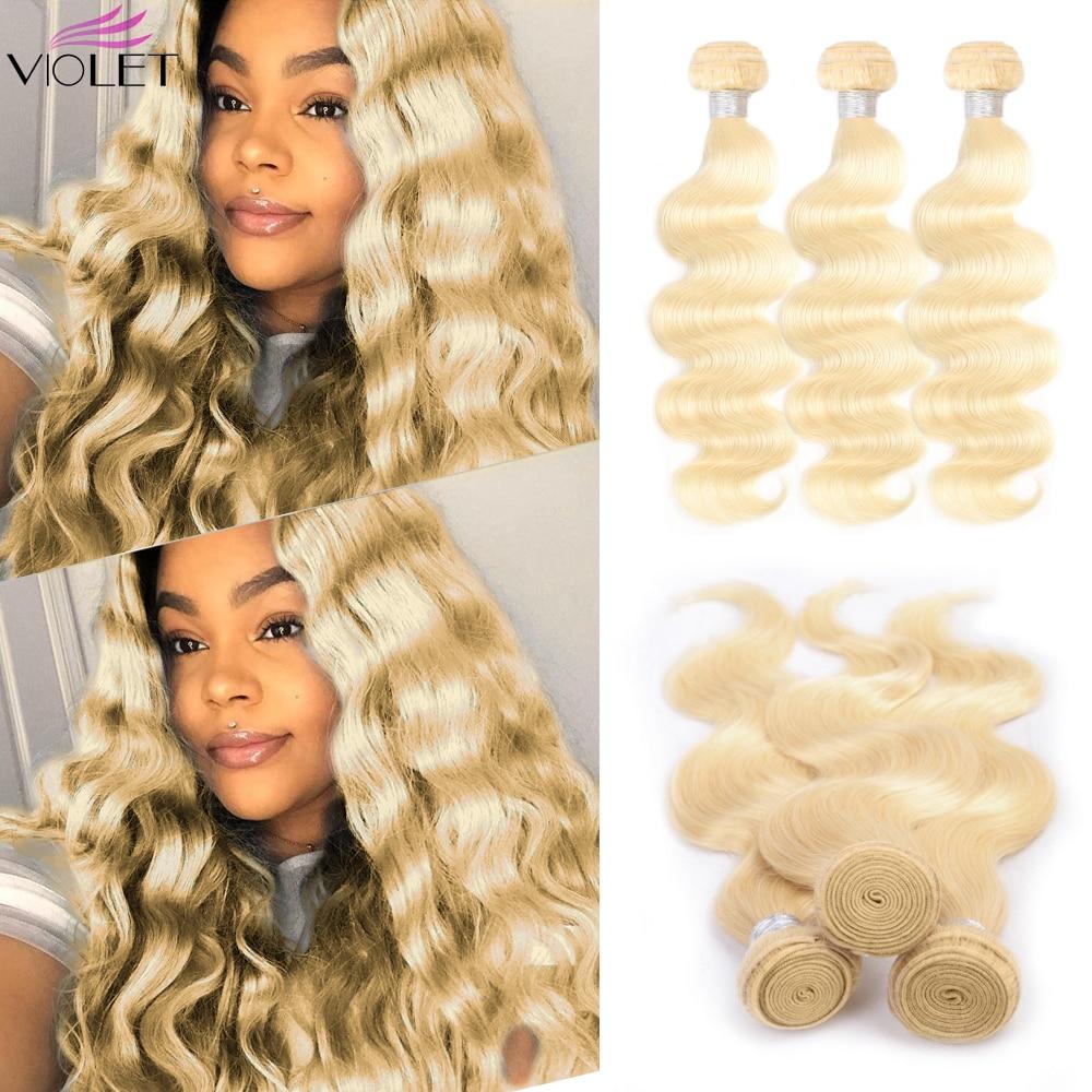VIOLET 613 Honey Blonde Bundles Body Wave Brazilian Hair Weave Bundles 100% Non Remy Hair Extensions 1/3/4 Bundles 8 26 Inches