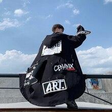 Осенняя Новая мужская ветровка длинная Корейская версия молодежное камуфляжное Свободное пальто manteau в японском стиле хип-хоп черный