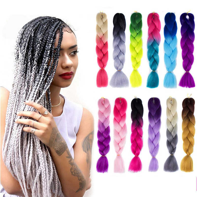 New 1 PC Braiding Hair Crochet Box Braids Hair Extensions 100% heat resistance synthetic fibre New style of the Braid 24inches
