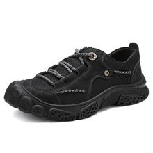 Genuine leather Men Hiking shoes Comfortable Outdoor Shoes Leather Trekking Sneakers Sport Mountain Climbing plus size 46