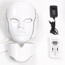 Masque led 7 цветов Светодиодная маска для лица светодиодная Корейская фотонная терапия маска для лица машинный светильник для лечения акне маска для шеи светодиодная маска для красоты