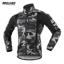 ARSUXEO Thermal Mtb Road Cycling Jacket Winter Night Reflective Warm Bicycle Clothing Windproof Waterproof Men Coat Bike Jersey