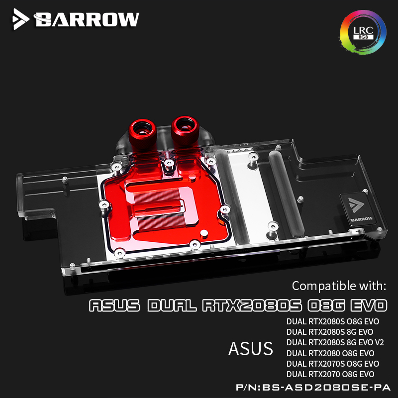 Barrow BS-ASD2080SE-PA Full Coverage Water Cooling Block For ASUS DUAL 2080S Graphics Card