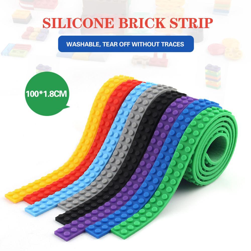 100CM Duplo Building Blocks Tape Strip Base Toy Bendable Flexible Soft Kids Adults DIY Building Plastic Loops Tape