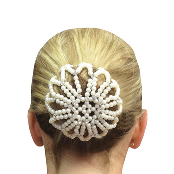 New Arrival Hand Made Crochet Pearl Elastic Hair Nets Ballet Dancing Snood Net Bun Covers Ornament for Ladies - discount item  50% OFF Hair Tools & Accessories