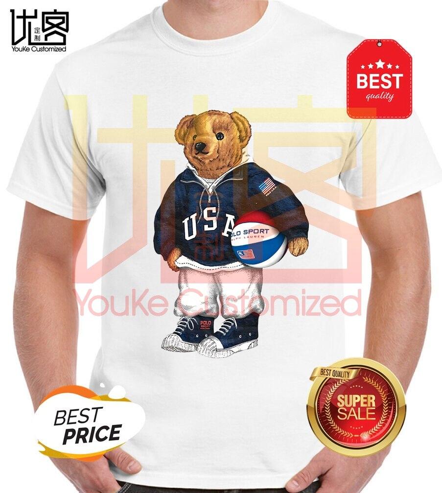 New Fashion Paul Bear Logo T Shirt Men's Women's 100% Cotton Short Sleeves Tops Tee Printed Crewneck Casual T-shirt