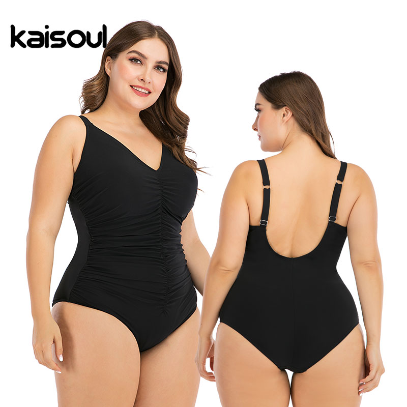2020 New Solid Black Pleated Large Size 6XL One Piece Swimsuit Women Sexy Backless Plus Big XXL Swimwear Slim Beach Bathing Suit