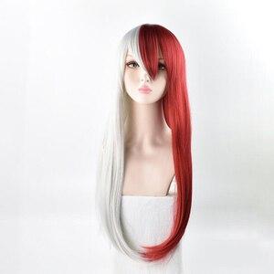 My Hero academic красный и белый волос Todoroki Shoto женский длинный парик косплей костюм Boku no Hero academic парики для вечеринок на Хэллоуин