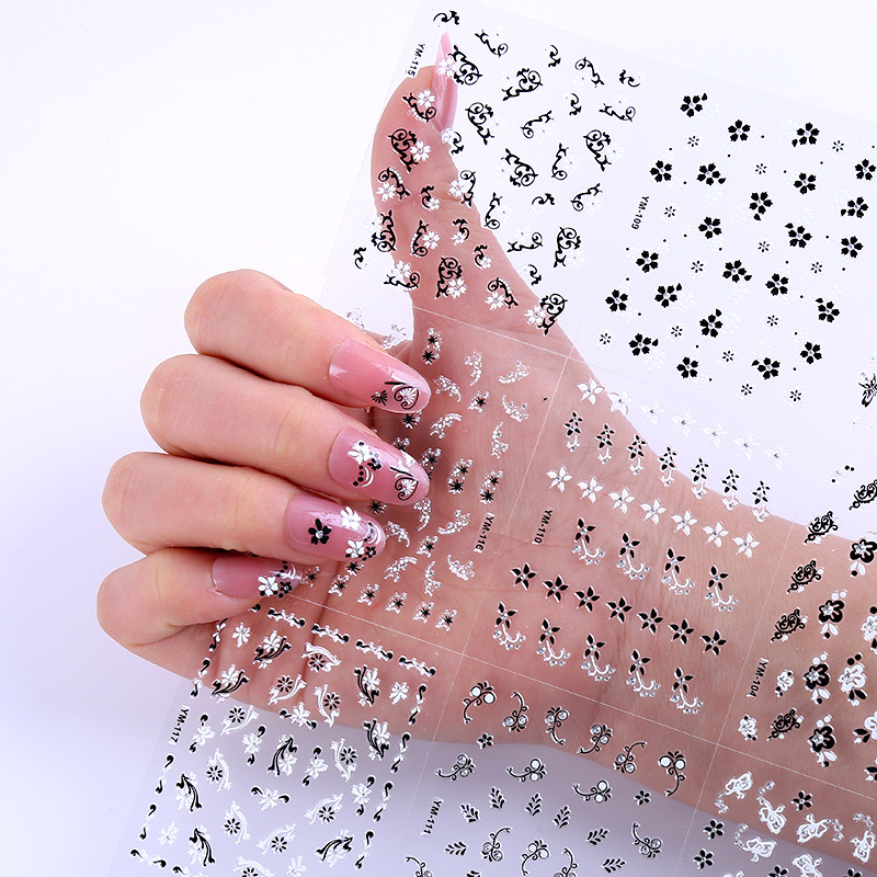 Japanese-style Nail Sticker Flower Stickers 3D Nail Patch Waterproof Children Nail Stick-on Crystals Nail Beauty Product Wholesa