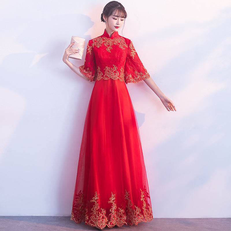 Fashion Lace Qipao Korean Short Sleeve Cheongsam Goddess 2018 Summer Traditional Modern Chinese Wedding Dress Women China Qi Pao