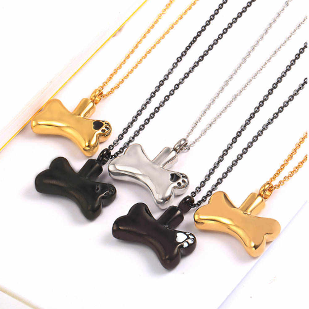 Ashes Pet Memorial Dog Urn Jewelry Bone- Paw Print Sympathy Gift Personalized Cremation Necklace Dog Name