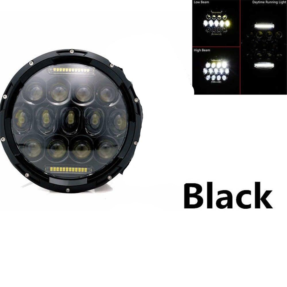 """Для lada Niva 4x4 suzuki samurai """" светодиодный DRL H4 галогеновые фары головного света для ВАЗ 2101 7 дюймовый светодиодный фар головного света с Halo Кольцо желтый сигнал поворота - Цвет: 75W headlight balck"""