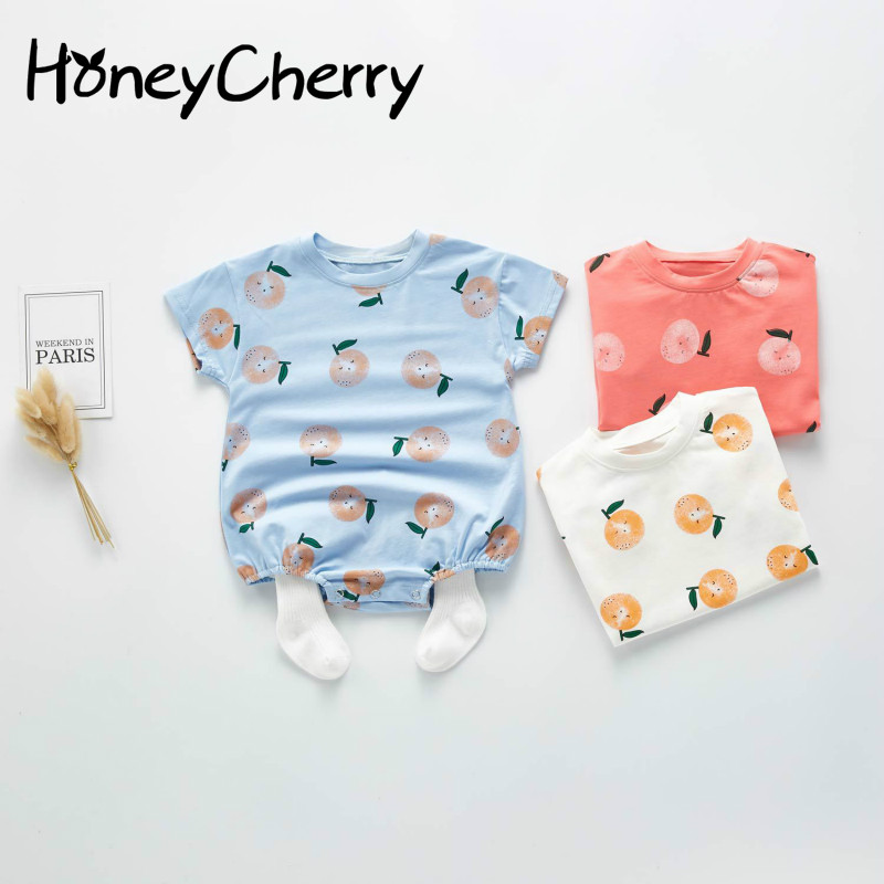 2020 SummerBaby Bodysuit Boys' And Girls' Orange Pattern Cotton Short Sleeve Hardcover Creeper Baby Girl Clothes