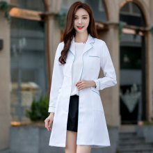 Muiwei White Coat Female Doctor Dresses Long Sleeve Nurse Dresses Hospital Beauty Salon Work Dresses Clinic Drugstore For Autumn