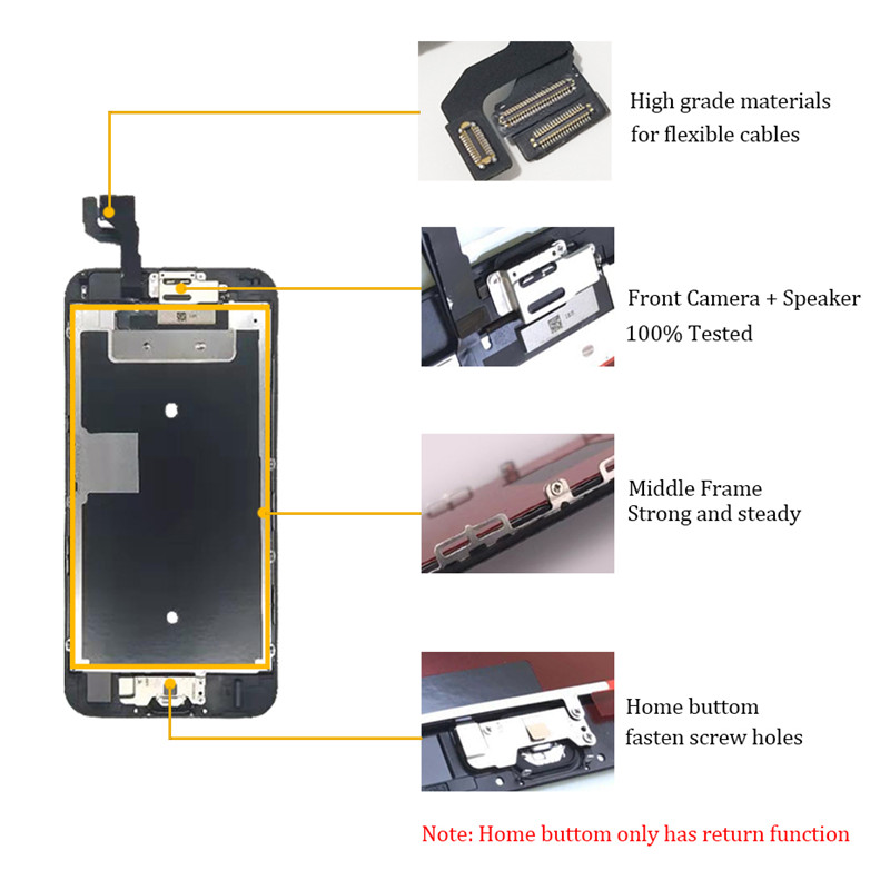 Image 4 - Complete LCD Or Full Assembly Display or Screen for iPhone  5S 6S 7 7P or for iphone 6 with Home Button and Front Camera-in Mobile Phone LCD Screens from Cellphones & Telecommunications