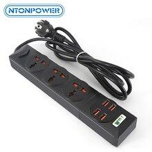 NTONPOWER toma de corriente Universal con 4 cargadores USB, enchufe electrónico inteligente para el hogar, cable de extensión de enchufe europeo para UE, Reino Unido, Australia y EE. UU.
