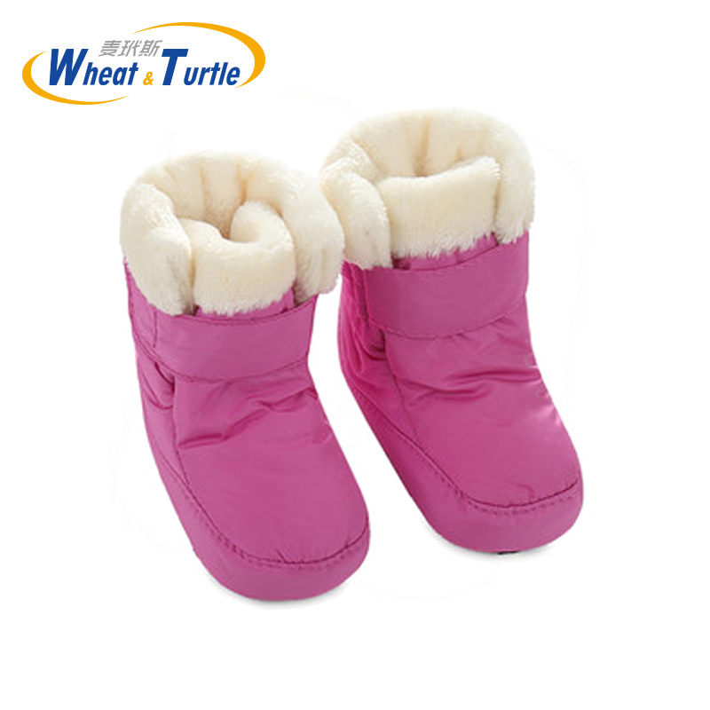 Mother Kids Baby Shoes First Walkers Unisex Winter Warm Boots For Infant Baby Faux Fur Inner Snow Boots Toddler Prewalker Bootie