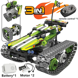QIHUI Technic Car Remote Control Toy Tracked Vehicle City Building Blocks Creator Expert RC Cars Bricks Toys For Children Gift