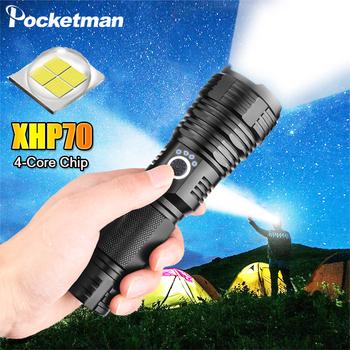 Najnowszy XHP70 2 LED latarka taktyczna latarka 5 tryby oświetlenia zoomable Camping wodoodporna latarka myśliwska wykorzystanie 18650 26650 tanie i dobre opinie POCKETMAN Latarki