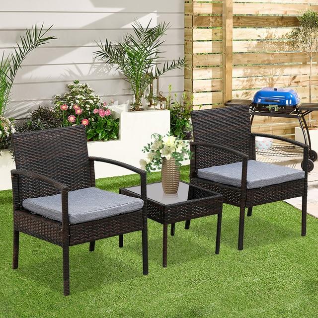 3PC Patio Furniture Wicker Rattan Outdoor Conversation Set  4