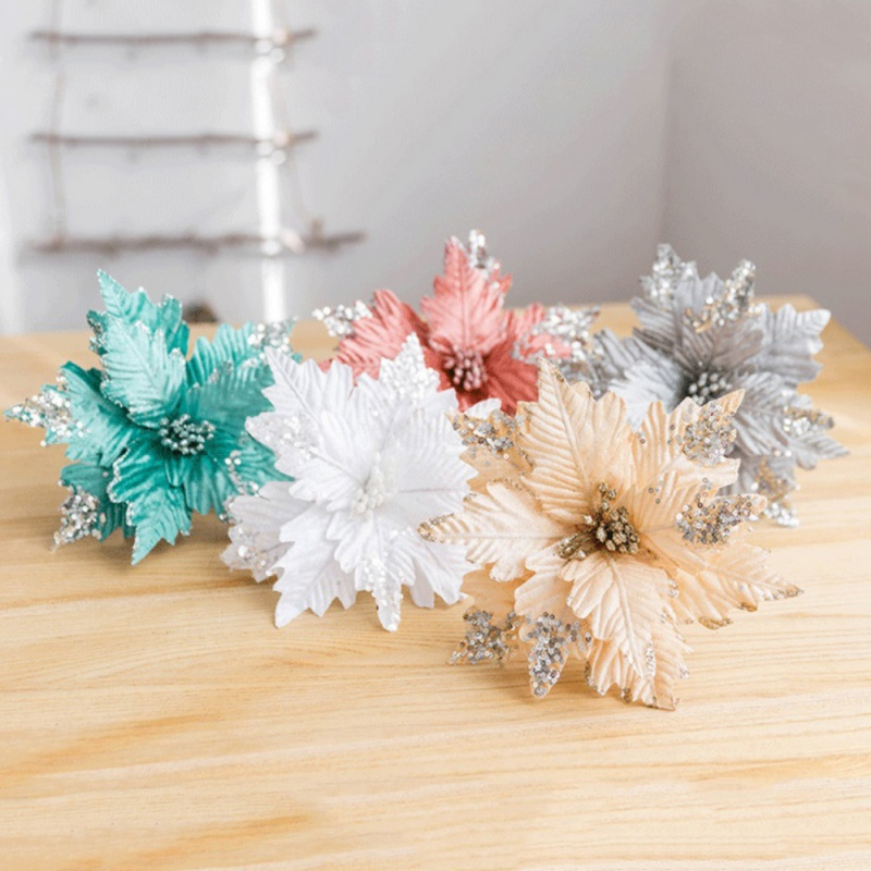 25cm Artificial Flowers Sequined Velvet Handmade Christmas Dried Flower Home Party Decoration Accessories  Flores Artificiales