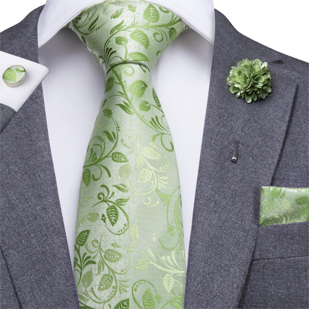 Hi-Tie Men Silk Tie Grass Green Ties Floral Necktie Boutonniere Handkerchief Cufflinks Set Wedding Cravat For Groom 8.5 Cm