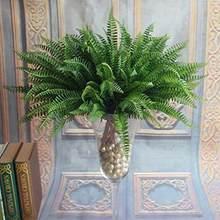 Helecho de Boston-plantas artificiales realistas, hierba decorativa del hogar, color verde, 7 unidades