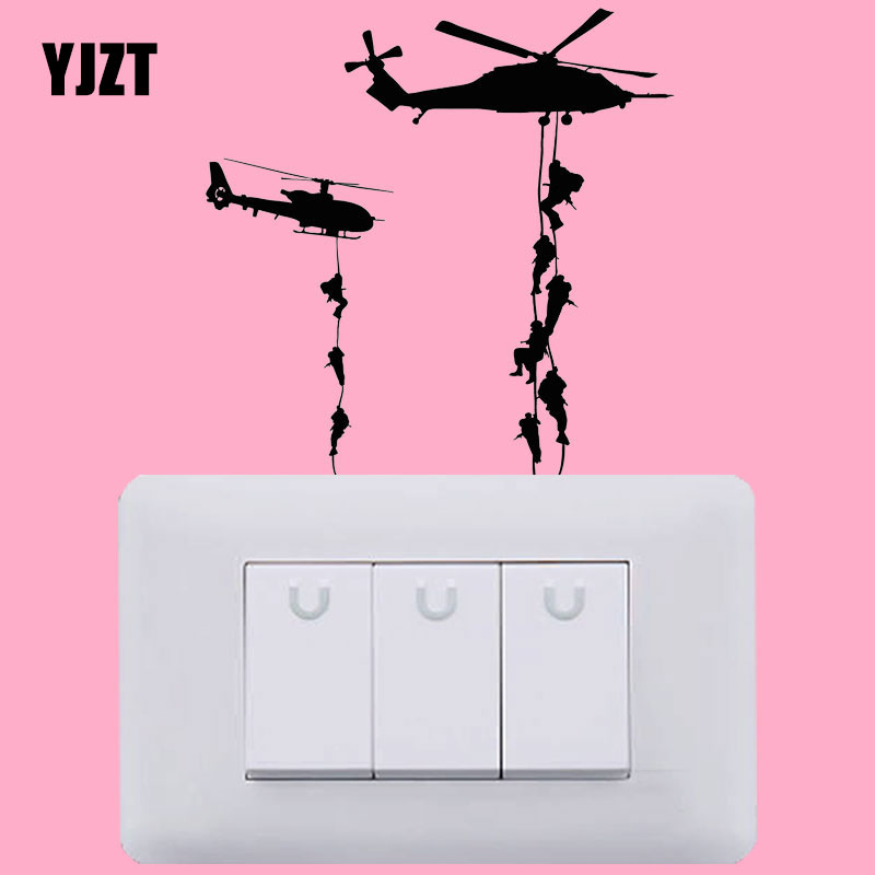 YJZT вертолет Декор виниловые настенные наклейки светильник ель света наклейки высокого качества S18-0085