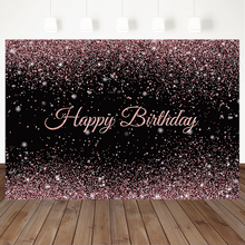 Rose Gold Pink Birthday Party Backdrop Black Glitter Shiny Photography Background Decoration Banner Photo Booth